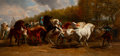 Fine Art - Painting, American, Attributed to Hugh Newell (American, 1830-1915) after Rosa Bonheur(French, 1822-1899). The Horse Fair, 1858. Oil on can...