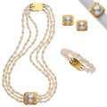 Estate Jewelry:Suites, Freshwater Cultured Pearl, Mabe Pearl, Gold Suite. ... (Total: 4Items)