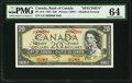 Canadian Currency, BC-41s $20 Dollars 1954 Specimen PMG Choice Uncirculated 64.. ...