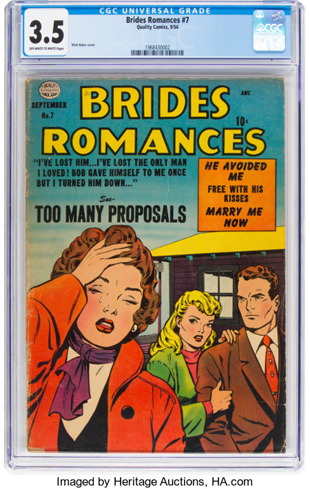 Brides Romances #7 (Quality, 1954) CGC VG- 3.5 Off-white to white pages....