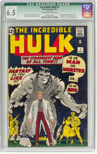 The Incredible Hulk #1 (Marvel, 1962) CGC Qualified FN+ 6.5 Off-white to white pages