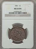 Large Cents: , 1851 1C MS64 Brown NGC. NGC Census: (139/175). PCGS Population: (182/113). MS64. Mintage 9,889,707. ...