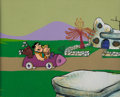 Animation Art:Production Cel, The Flintstones Fred Flintstone and Barney Rubble ProductionCel on Key Master Production Background (Hanna-Barbera, 1...