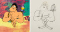 Animation Art:Production Cel, George of the Jungle George and Tookie-Tookie BirdProduction Cel and Matching Animation Drawing (Jay W...