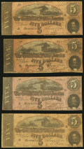 Confederate Notes:1864 Issues, T69 $5 1864 Nine Examples Very Good or Better.. ... (Total: 9 notes)