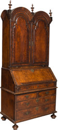 Furniture , A George II Burled Walnut Double Bonnet Secretary Bookcase, 18th century . 88-5/8 x 39-3/4 x 22-1/4 inches (225.1 x 101.0 x ... (Total: 2 Items)