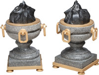 A Pair of Large Neoclassical Marble and Gilt and Patinated Metal Urns, designed by Paxton Gremillion, Dallas, Texas