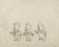 Animation Art:Production Drawing, Three Little Pigs Fiddler, Fifer, and Practical PigAnimation Drawing (Walt Disney, 1933).. ...