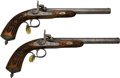 Handguns:Muzzle loading, Engraved Pair of French Percussion Parlor Dueling Pistols....(Total: 2 Items)