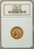 Indian Half Eagles, 1914-S $5 MS61 NGC....
