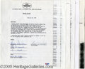 """Hollywood Memorabilia:Autographs and Signed Items, """"Happy Days"""" Cast Signed Contracts. Offered here is a complete set of original contracts from the key stars of the hit '70s ..."""