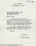 Hollywood Memorabilia:Autographs and Signed Items, Lillian Hellman Signed Letter. A typed, signed letter, dated September 26, 1955, from popular and influential playwright Lil...