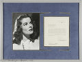 Hollywood Memorabilia:Autographs and Signed Items, Katharine Hepburn Signed Document with Photograph. Here is arelease form from RKO Pictures, dated April 20, 1933, granting ...