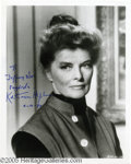 "Hollywood Memorabilia:Autographs and Signed Items, Katharine Hepburn Signed Photograph. A publicity still for the 1967drama ""Guess Who's Coming to Dinner"" signed by legendary..."