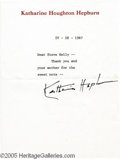 "Hollywood Memorabilia:Autographs and Signed Items, Katharine Hepburn Signed Letter. Dubbed the ""First Lady of Cinema"" -- she was nominated for 12 Oscars and won four during he..."