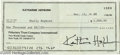 Hollywood Memorabilia:Autographs and Signed Items, Katharine Hepburn Signed Check. Uncashed personal check datedDecember 13, 1988, written to Shelly Hepburn for $1,000, and s...
