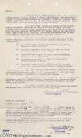Hollywood Memorabilia:Autographs and Signed Items, Alfred Hitchcock Signed Contract. A single-page agreement between director Alfred Hitchcock and Paramount Pictures, dated Ju...