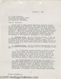"""Hollywood Memorabilia:Autographs and Signed Items, Alfred Hitchcock Signed Document. A two-page, 8.5"""" by 11"""" document, dated December 7, 1965, detailing advertising agreements..."""