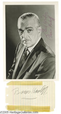 Memorabilia:Miscellaneous, Boris Karloff Signed Items. The long-reigning king of Hollywoodhorror, Boris Karloff made a name for himself in the '30s an...
