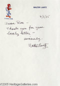 Hollywood Memorabilia:Autographs and Signed Items, Walter Lantz Signed Letter. A signed letter dated 4/7/85 from Walter Lantz, creator of Woody Woodpecker, Chilly Willy, Andy ...