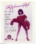 "Memorabilia:Miscellaneous, Kelly LeBrock Signed Lobby Card. Featured in this lot is aphotograph for ""The Woman In Red"" signed by model-actress KellyL..."