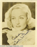 Memorabilia:Miscellaneous, Carole Lombard Signed Photograph. Carole Lombard's comic style radiated both intelligence and sex appeal, making her a popul...