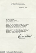 Memorabilia:Miscellaneous, Gregory Peck Signed Letter. A one-page typed letter, dated January6, 1986, signed by the actor in black ink. Peck briefly d...
