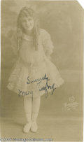"Hollywood Memorabilia:Autographs and Signed Items, Mary Pickford Signed Photograph. A rare vintage photo signed by the ""Pollyanna"" star, one of the great actresses of the sile..."