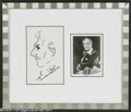 "Hollywood Memorabilia:Autographs and Signed Items, Vincent Price Autographed Photo and Sketch. A 3"" x 5"" profile sketch of Price nicely framed and matted along with a 2.5"" x 3..."
