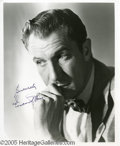 Hollywood Memorabilia:Autographs and Signed Items, Vincent Price Signed Photograph. Known mostly for hisspine-tingling roles in horror films, Price strikes a rare, morerefle...
