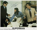 "Memorabilia:Miscellaneous, Christopher Reeve Signed Lobby Card. Featured in this lot is a promotional still from the 1978 movie ""Superman,"" the film th..."