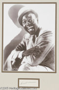 """Hollywood Memorabilia:Autographs and Signed Items, Bill Robinson Autograph. Signature sample from tap-dancer and actor Bill """"Bojangles"""" Robinson, matted along with a black-and..."""