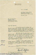 Hollywood Memorabilia:Autographs and Signed Items, Reginald Sheffield Signed Letter. This is a real treat for fans ofthe Golden Age of Hollywood, a letter dated 11/9/42 from ...