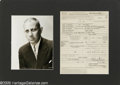 "Hollywood Memorabilia:Autographs and Signed Items, Erich Von Stroheim Signed Document with Photograph. A talenteddirector (""Greed,"" ""The Merry Widow"") and actor (""The Grand I..."