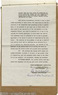 Hollywood Memorabilia:Autographs and Signed Items, Irving Thalberg and Ray Miland Signed Document. Featured is a 15-page agreement, dated August 22, 1931, between actor Ray Mi...