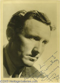 "Memorabilia:Miscellaneous, Spencer Tracy Signed Photograph. This lot features a signed vintagephoto of actor Spencer Tracy, star of such classics as ""..."