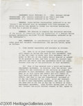 "Hollywood Memorabilia:Autographs and Signed Items, Orson Welles Signed Contract. A five-page, 8.5"" x 11"" agreement,dated February 11, 1963, between Taylor Productions, Inc. a..."