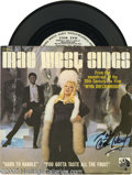 """Hollywood Memorabilia:Autographs and Signed Items, Mae West Signed Record. A rare promo 45 signed copy of """"Mae West Sings,"""" which featured the songs """"Hard to Handle"""" and """"You ..."""