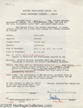 Hollywood Memorabilia:Autographs and Signed Items, Victor Borge Signed Contract. Here is a standard single engagement agreement, dated March 18, 1952, between NBC and composer...