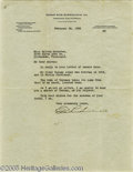 Hollywood Memorabilia:Autographs and Signed Items, Edgar Rice Burroughs Signed Letter. Featured is a typed letter, dated February 24, 1938, signed by novelist and Tarzan-creat...