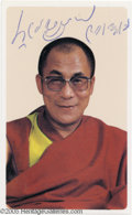 "Hollywood Memorabilia:Autographs and Signed Items, Dalai Lama Signed Photograph. A 2"" x 3"" color photo of the Dalai Lama, signed by the renowned spiritual leader. With COA f..."