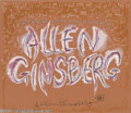 Memorabilia:Miscellaneous, Allen Ginsberg Signed Fan Art. A paint-on-illustration boardpainting by Dallas artist Marvin Sigel, signed by the late Beat...