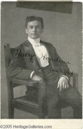 "Hollywood Memorabilia:Autographs and Signed Items, Harry Houdini Signed Postcard Portrait. A vintage 3.5"" x 5.5"" postcard portrait of an elegantly dressed Houdini, signed ""Har..."