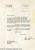 Hollywood Memorabilia:Autographs and Signed Items, Henry R. Luce Signed Letter. Featured here is a typed letter fromTime magazine co-founder Henry R. Luce, dated May 25, ...
