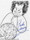 Memorabilia:Miscellaneous, Jackie Mason Signed Caricature. In this lot is a reproduction of acartoon caricature of borscht-belt comedian Jackie Mason,...
