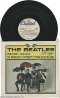 """Music Memorabilia:Recordings, Beatles """"4 x 4"""" Acetate. This 1965 EP was the second of two issuedby Capitol (Capitol #R-5365),and includes """"Honey Don't,"""" ..."""
