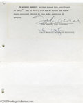 Music Memorabilia:Autographs and Signed Items, John Lennon Signed Document. Offered is a two-page certificate ofchange, dated December 6, 1974, which effectively changed ...