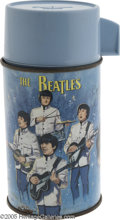 Music Memorabilia:Miscellaneous, Beatles Thermos. Manufactured by Aladdin, this thermos is 7 inchestall and 3 1/4 inches in diameter. This blue bottle, whic...