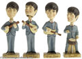 Music Memorabilia:Toys, Bobb'n Head Beatles Toys. Bobble-head toys are pretty common thesedays, but none are as cool as these: Four vintage 1964 Bo...