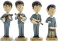 Music Memorabilia:Miscellaneous, Bobb'n Head Beatles Toys with Box. Four vintage 1964 Bobb'n HeadBeatles figures, one each for John, Paul, George, and Ringo...